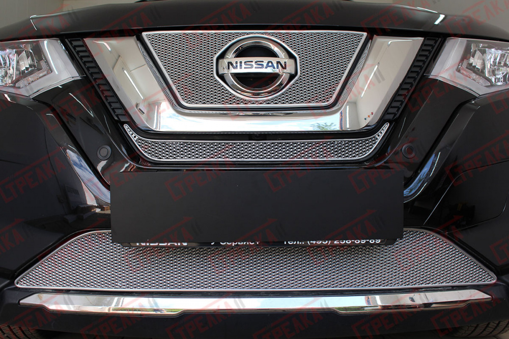 Защита радиатора Nissan X-Trail T32 2018- chrome середина PREMIUM