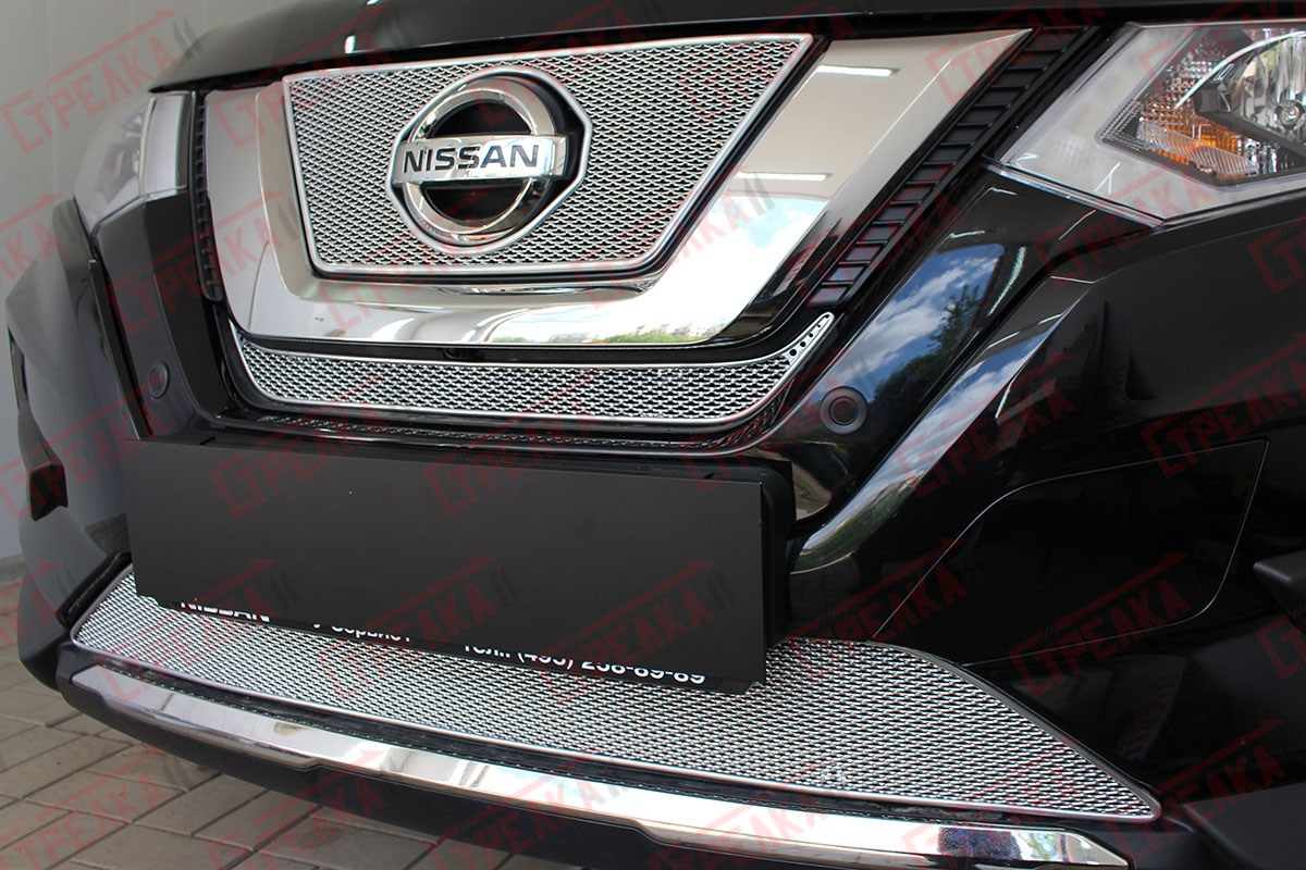 Защита радиатора Nissan X-Trail T32 2018- chrome середина PREMIUM. Фото N2