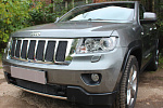Защита радиатора Jeep Grand Cherokee (WK2) IV 2010-2013 black верх PREMIUM (7 частей)